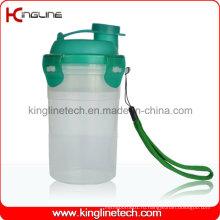 300 мл пластиковая бутылка для протеинов с фильтром и ремешком (KL-7401)