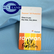Sportbekleidung aus 100% Polyester UV-beständigem Pique-Coolmax-Stoff