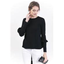 Damen Schwarzer Pullover mit Rundhalsausschnitt