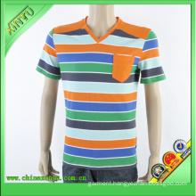 One Pocket on Left Chest V-Neck Strip Men′s T-Shirt (4)