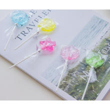 China Supplier Flower Shaped fruit flavour hard candy lollipop