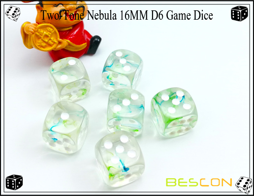Two-Tone Nebula 16MM D6 Game Dice-13