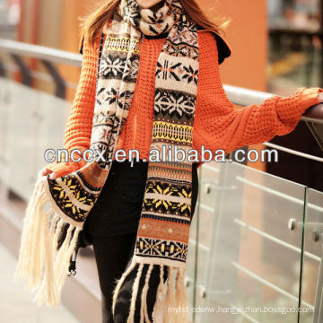 PK17ST335 lovely jacquard fabric christmas knitted scarf with tassels