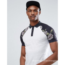 Tall Polo with Contrast Raglan Pixel Floral Print Sleeves