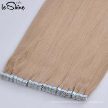 pelo remy indio real de la alta calidad 100, extensiones dibujadas doble del pelo de la cinta del grado 7a al por mayor