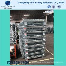 Paleta de caja de acero de la jaula de malla de alambre del almacén