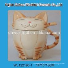 Tasse en céramique design chat avec couvercle et cuillère