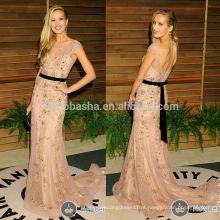 Petra Nemcova Oscar 2014 Vanity Fair Sheer Neck Cap Sleeve Backless Lace Applique Beaded Sheath Celebrity Evening Dress NB0789