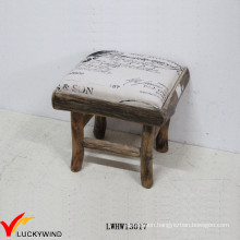Square Eco Small Fabric Upholstered Wooden Stool