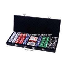500PCS Poker Chip Set in schwarzer Farbe Leder Tasche (SY-S46A)