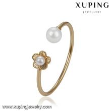 51768 Xuping atacado duas pérola elegante pulseira de ouro para as mulheres