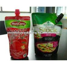 Levante-se suco de tomate grande ou personalizado Sacos de embalagem de bico com boa impressão