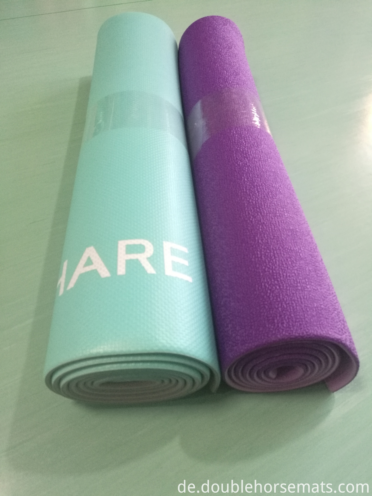 PVC material double color embossed yoga mat