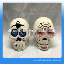 Ceramic Salt and Pepper Shaker, 1.77 Inch, Dia De Los Muertos
