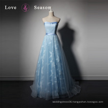 LSQ077 off shoulder natural waist blue dress formal evening gown dress evening gown long