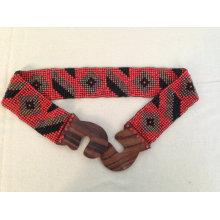 Новый Handmade красный многоцветный этнический хиппи шикарный племенной ацтеков Chevron простираться стеклянный бусины пояса с деревянной пряжкой