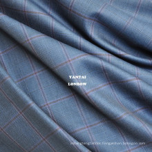 100 super fine merino blue wool plaid fabric for tailor suits