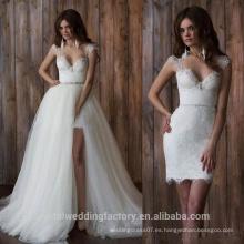 Cap manga abierta espalda falda desmontable dos piezas de encaje blanco vestidos de novia MW2552