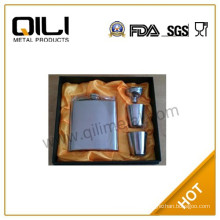 Luxury Crown Royal Stainless Steel Whiskey Hip Flask Gift Set for Wedding