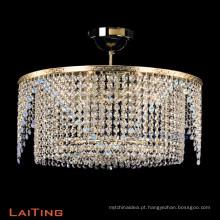 Luz de teto de alta qualidade corredor lustre de cristal rodada de prata pingente lâmpada