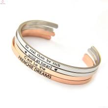 joyería de encargo del brazalete del acero inoxidable del oro color de rosa llano personalizado de encargo