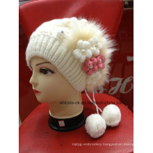New Design Fashion Hand Knit Flower Lady Girl Hat Beanie