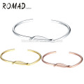 Wholesale OEM Gold Plated Pale Oval Copper & Natural Bangles Girl Bracelets