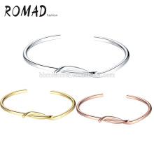 En gros OEM plaqué or pâle cuivre ovale et bracelets naturels de fille de bracelets