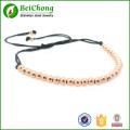 4 mm argent perles rondes tressage Bracelet macramé pour hommes et femmes, vente en gros
