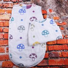 Saco de dormir 100% del bebé de la seta de la muselina de algodón, saco de dormir de los niños