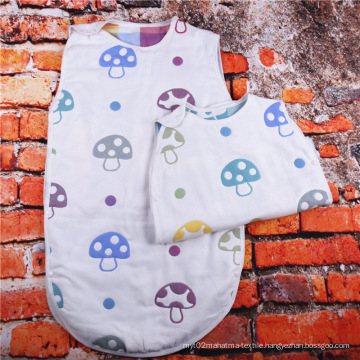 100% Cotton Muslin Mushroom Baby Sleeping Bag, Kids Sleeping Bag