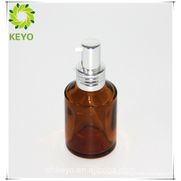 Amber color round empty car air freshener bottle glass pump bottle for cosmetic
