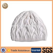 Chapeau tricoté blanc en cachemire entier