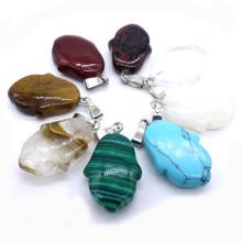 Semi precious stone polished flat tulip crystal pendant