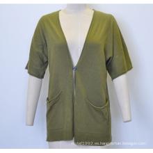Primavera de manga corta de cuello en V suelta chaqueta de punto de las mujeres con un botón