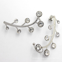 Simple Leaf Design Ear Stud Wedding White Gold Earring Models