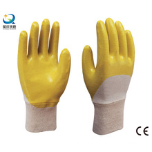 Yellow Cotton Shell Nitrile 3/4 Coated Safety Work Gloves (N6044)