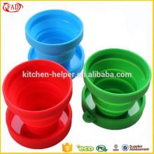 Último estilo fácil de limpiar plegable silicona copas