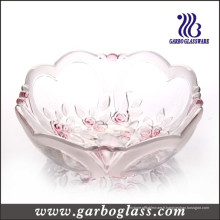 Rose Carving Color and Frostted Round Glass Bowl (GB1633XMG / PDS)