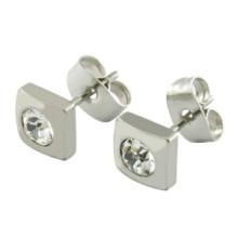 White Crystal Beauty Stainless Steel Stud Hoop Ladies Earrings