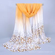 Foulard musulman en mousseline de soie jaune de bonne qualité femmes long foulard imprimé hijab léopard