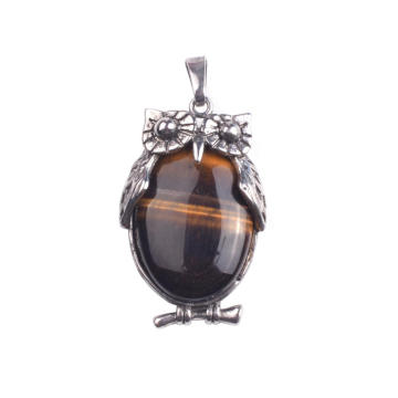 Men's Tiger Eye Stone Pendant Necklace Silver Plated Owl Vintage Necklace Jewelry