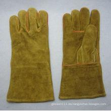 Vaca dividida en cuero reforzado con pulgar Welted Welding Work Glove
