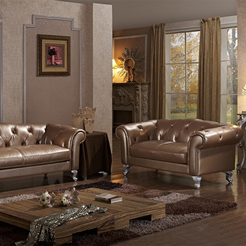 Wooden Leather Sofa Set