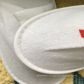 Printed hotel and club logo thick eva sole knitted cotton white cheap airline slipper
