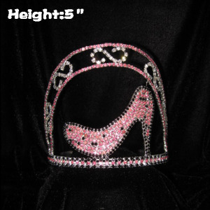5in Height Crystal Pink Black High Heel Crowns