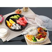 Bento / repas chaud / récipient jetable rond en plastique de nourriture de micro-onde 3-compartiment PP