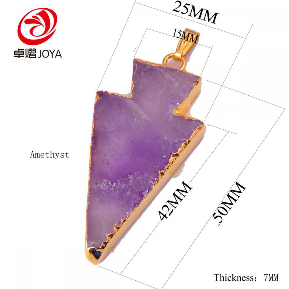 Amethyst arrow pendant size