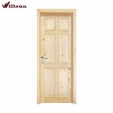 Authentic Wood 6-Panel Unfinished Fir Prehung Front Door Primed White AuraLast Jamb and Brickmould