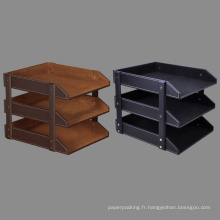 3 Tier Leather Documents File Plateau